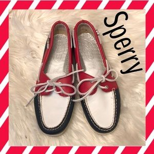 Red, white, and blue Sperrys